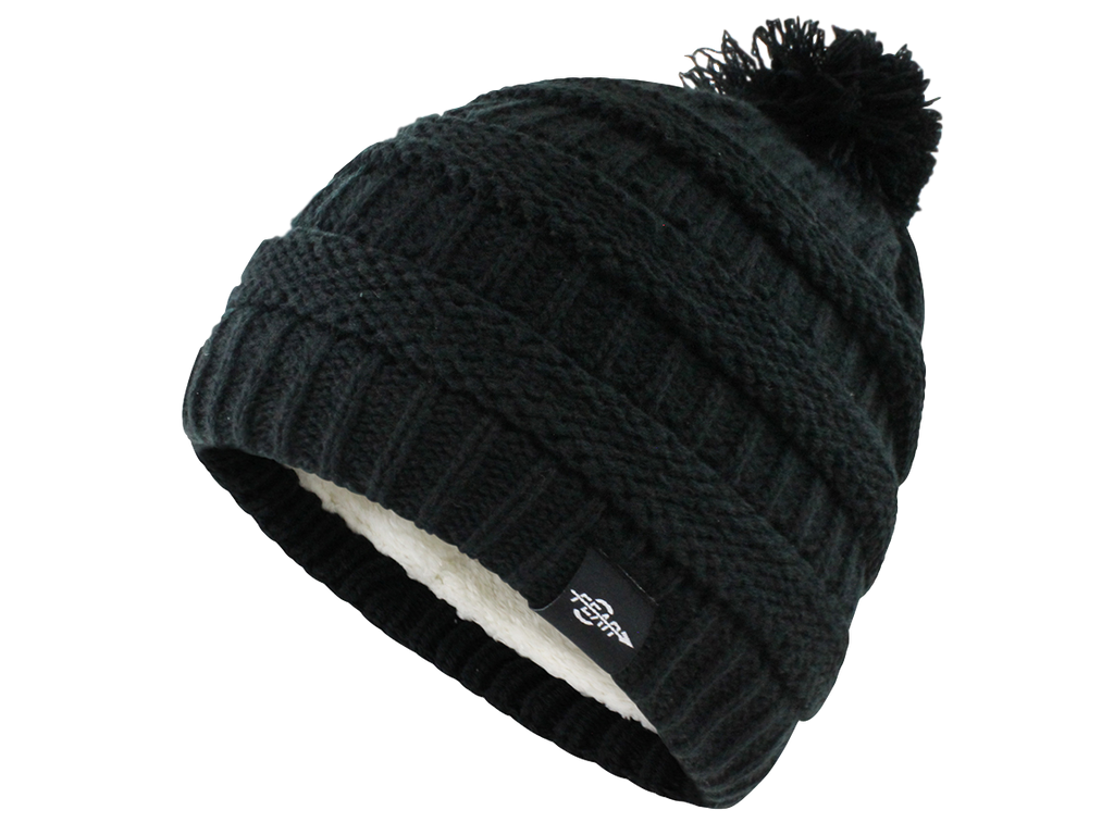 2d5ff61d4d2 FEAR0 PLUSH INSULATED EXTREME COLD GEAR BLACK KNIT POM BEANIE HAT WOMENS  GIRLS ...