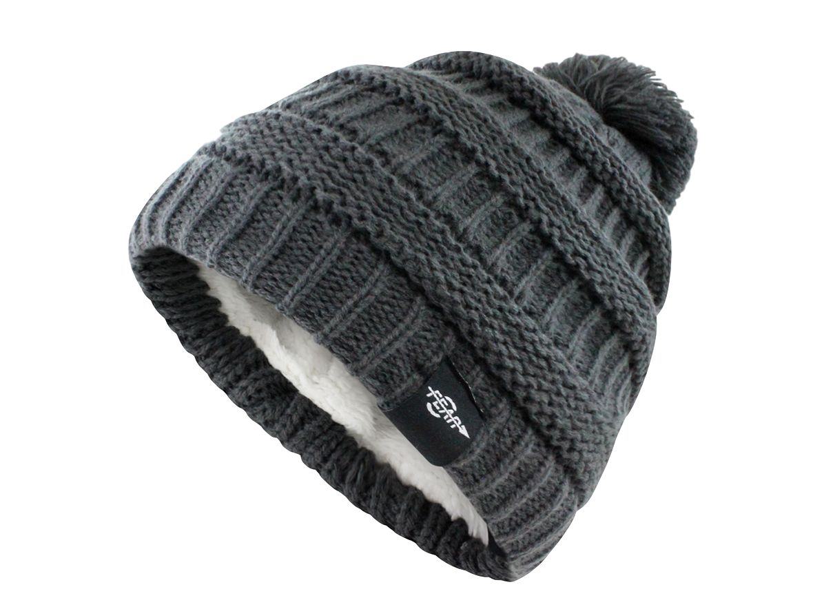 FEAR0 PLUSH INSULATED EXTREME COLD GEAR BLACK KNIT POM BEANIE HAT WOMENS  GIRLS cd171c3acfdf