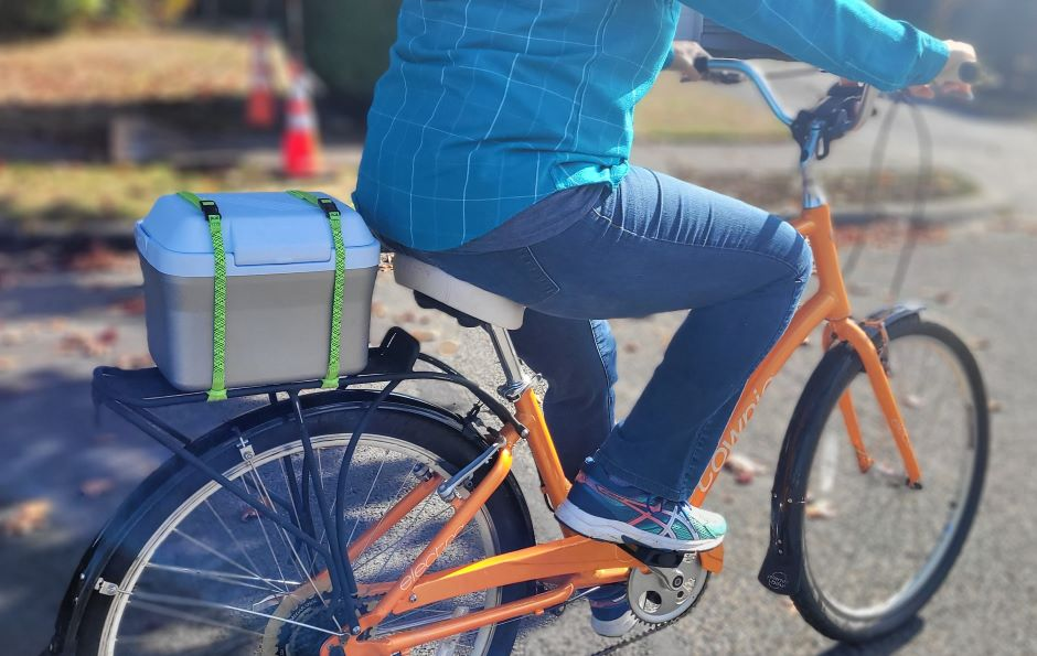 ROK Commuter Straps are best straps for carrying items on a bicycle.