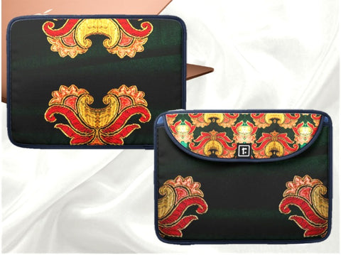 "Laptop or MacBook bag or case- 13"" 0r 15"" for women or girls'. Striking design green beige red. Indian, ethnic. From Artkrti."