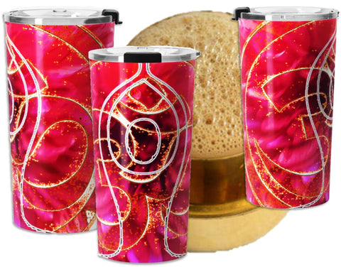 Yogi's travel coffee mug- Sun salutation and  Om or Aum design. Red, stainless steel. Artikrti.