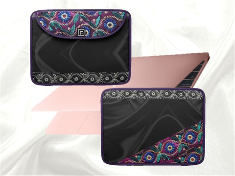 "Black Laptop case  MacBook bag- 13"" or 15"". Black beautiful with pink and purple. Indian, ethnic. From Artkrti."