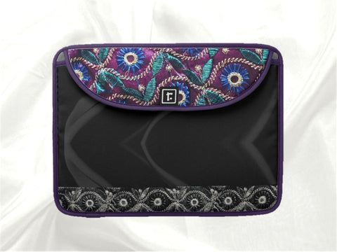 "Women's MacBook case- 13"" or 15"". Laptop bag or cover. Black beautiful with pink and purple. Indian, ethnic. From Artkrti."