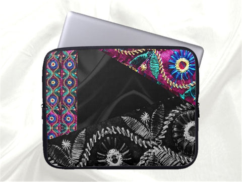 Unique laptop sleeve or MacBook zip cover. Cool, urban, trendy, black, purple, pink. Indian, ethnic. From Artkrti.