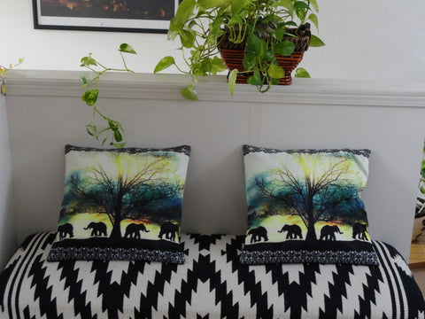 "Indian sofa throw pillow ""Elephant Walk"". Silk cushion covers. Multi color ethnic cushion, Decorative sofa cushion cover. Artikrti."