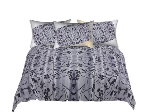 "Comforter set queen. Grey Black Bed in a bag. King comforter with matching pillow shams. ""Jasmine Rangoli"". Artikrti."