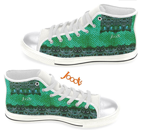 Women's high tops sneakers. Green Olive keds. Indian design. Peacock Eye . Jooots from Artikrti
