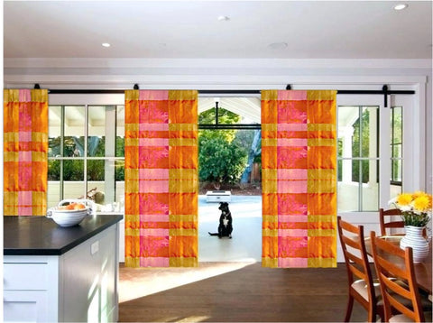 Indian curtains or drapes-yellow and pink checks artikrti1