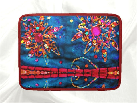 Laptop or MacBook bag or case red blue stone sequin design artikrti3