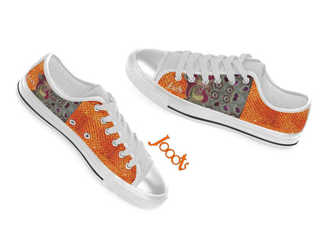 Canvas sneakers for girls. Low tops yellow orange keds. Indian design. Peacock Eye . Jooots from Artikrti