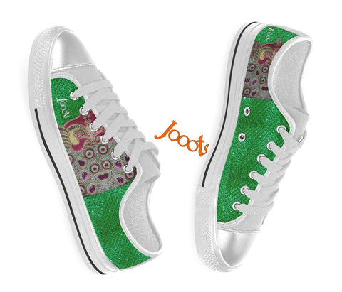 Canvas sneakers for girls. Low tops Green Olive keds. Indian design. Peacock Eye . Jooots from Artikrti