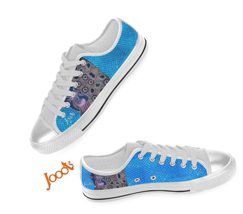 Canvas sneakers for girls. Low tops Turquoise pink keds. Indian design. Peacock Eye . Jooots from Artikrti