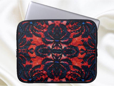 Designer laptop zip bag or MacBook bag or sleeve. Cool, urban, trendy, red & black. Indian, ethnic. From Artkrti.