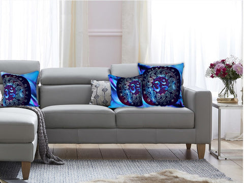 "Om AUM sofa cushion cover. ""Om Aura"". Pillow cover. Blue Purple ethnic bedroom cushion cover. Artikrti."