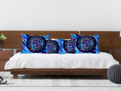 "Om AUM Pillow Case or Cover. ""Om Aura"". Pillow sham. Blue Purple ethnic bedroom pillow cover. Artikrti."