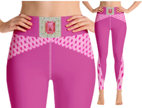 "High-waist yoga pants with pocket. Women's gym workout leggings- pink diamond. Matching sports bra. ""Pink Jewel"". From Artikrti."