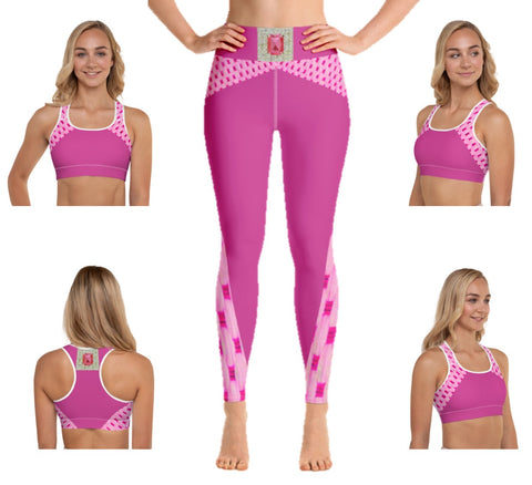 "Crop top or bra- padded and regular. Fitness or sports bra. Unique Indian design print. Matching leggings.""Pink Jewel"". From Artikrti."
