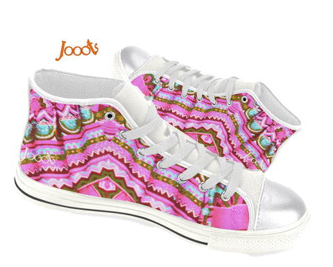 Girls' sneakers High tops. Canvas keds pink blue. Indian design. Batik Crystals . Jooots from Artikrti