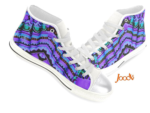 Girls' keds High tops. Sneakers purple blue. Indian design. Batik Crystals . Jooots from Artikrti