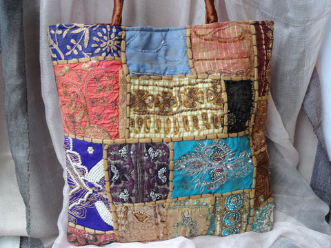 Patchwork Laptop iPad Bag com tote bag from India Artikrti