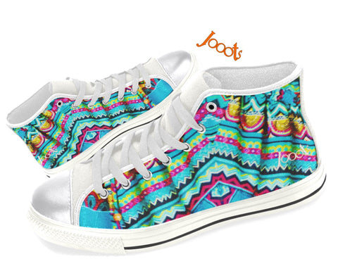 Girls' sneakers High tops. Canvas keds turquoise yellow. Indian design. Batik Crystals . Jooots from Artikrti