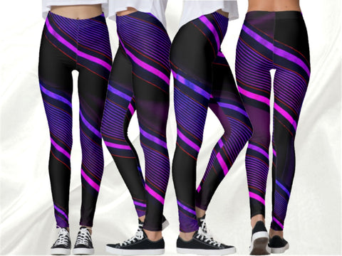 "Leggings to chill or party. Yoga pants or pilates leggings- black, purple. ""Zebra Desi"". From Artikrti."