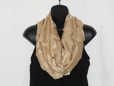 Contemporary applique silk scarf. Handwoven, silk shawl. Beige applique scarf shawl. Indian beige browns- earthy. Ethnic infinity scarf. Artikrti