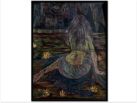 "Indian Painting. Home decor art poster. Art from India ""Motherhood. Lost"". 16 x 24 in.  From Artikrti"