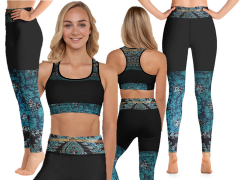 "Yoga pants- black with a splash of teal green. High waist women's gym leggings. Matching sports bra. ""Devi"". From Artikrti."