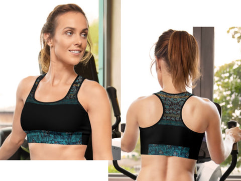 "Sports Bra- padded & regular. Black and teal green. Unique Indian flora & vine print-""Devi"". From Artikrti."
