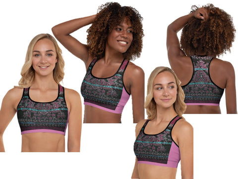 "Gym sports bra or fitness bra. Fuchsia and red. Unique Indian flora & vine print-""Devi"". From Artikrti."