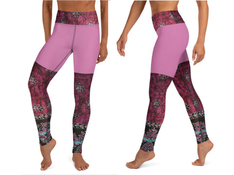 "Yoga pants- fuchsia with a splash of red. High waist women's gym leggings. Matching sports bra. ""Devi"". From Artikrti."