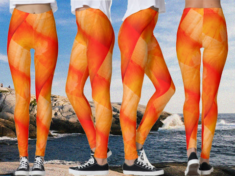 "Dance leggings, boho fashion pants, tie dye yoga pants- orange. Indian, ethnic ""Bhangra"". From Artikrti."