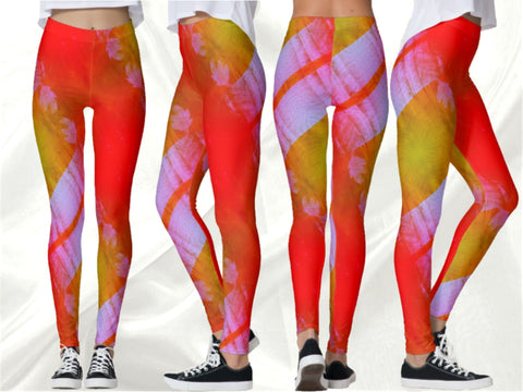 "Dance leggings Pilates pants, women's yoga leggings, fitness pants- orange white. Indian, ethnic ""Bhangra"". From Artikrti."