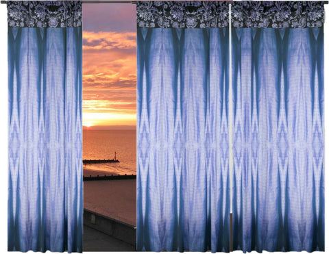 "Curtain panels-Indian style designs. Greyish Blue french window drapes. ""Colorful Weaves"" from Artikrti"