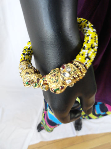 indian meenakari elephant  bracelet yellow black beads 2