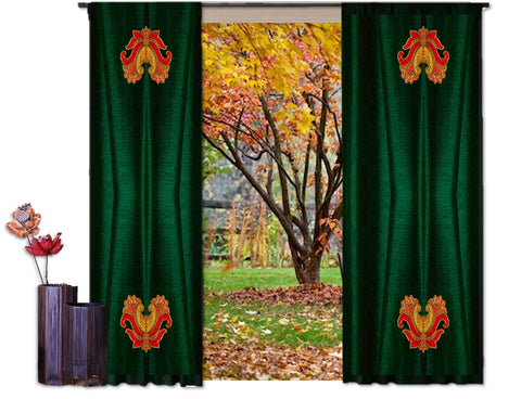 "Home curtains- Holiday Colors- green. Curtains and drapes for the living room. Indian design style ""Lotus Breeze"" from Artikrti"