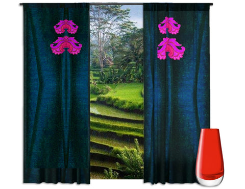 "Bedroom curtains- midnight blue. Curtains and drapes for the living room. Indian design style ""Lotus Breeze"" from Artikrti"