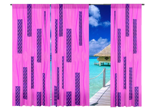 "Curtain store- curtains and drapes. Bay Window curtains- pink and blue. Indian design- ""Rumani"". From Artikrti."