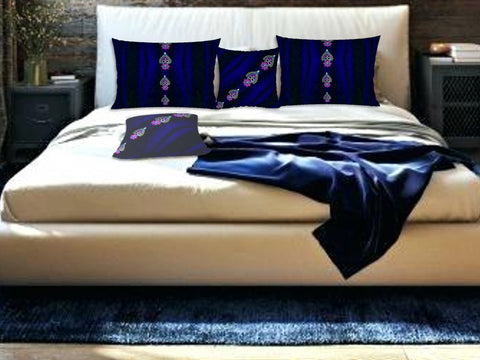 "Bedroom pillow shams or cases or covers-purple, blue. Matching cushion covers. ""Diwali"" by Artikrti."