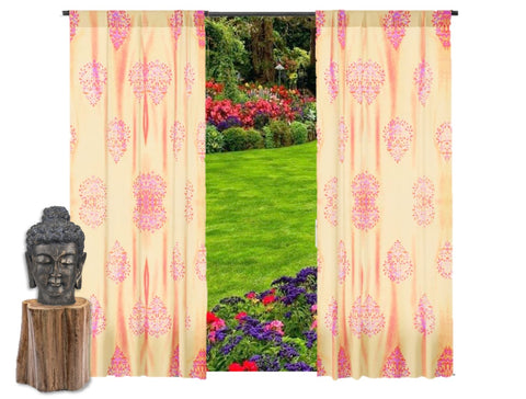 "Beige Indian curtains. Window curtains.  Living room curtains. Long drapes- ""Floral Lanterns"". From Artikrti."