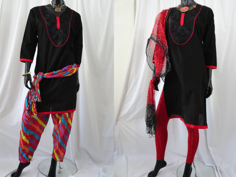 Black Soft Cotton long dress top. Summer boho casual yoga blouse or top. ComfyCottons from Artikrti.