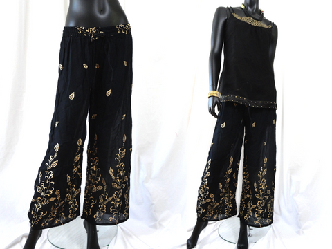 Black & gold Palazzo Yoga Harem Pants. Chic ethnic Meditation Baggy Gypsy Pants. Yoga legging,  tai chi pants. ComfyCottons from Aritkrti.
