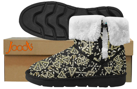 Classic fashion snow boots for women. Faux fur lined snow shoes-black. Cupid's Arrow. Jooots from Artikrti