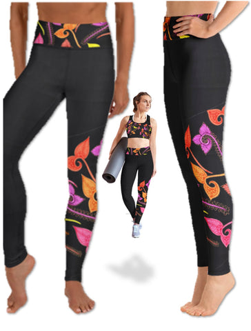 "Black Yoga Pants or workout Leggings. Henna print dance leggings or running pants. Matching sports bra. ""Mayuri"" or ""Peahen"". From Artikrti."