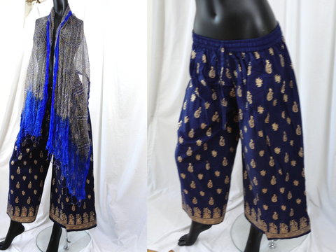 Palazzo Yoga Harem Pants. Blue and gold ethnic Meditation Baggy Gypsy Pants. Yoga legging,  tai chi pants. ComfyCottons from Aritkrti.