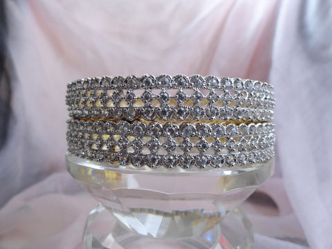 "Indian bridal bracelet bangles-gold finish and faux diamonds. White stone, classy, dressy. ""Crown Jewel"". From Artikrti"