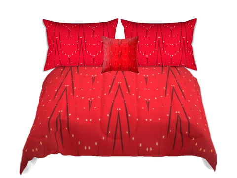"Bed in a bag. Christmas comforter sets. Red full comforter with matching pillow covers. ""Star Lights"". Artikrti."
