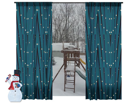 "Living Room curtains- Holiday Colors- green. Decorative curtains and drapes. Unique design style ""Star Lights"" from Artikrti"