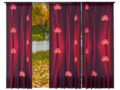 "Decorative curtains- Holiday Colors- red. Curtains and drapes for the living room. Indian design style ""Lotus Breeze"" from Artikrti"